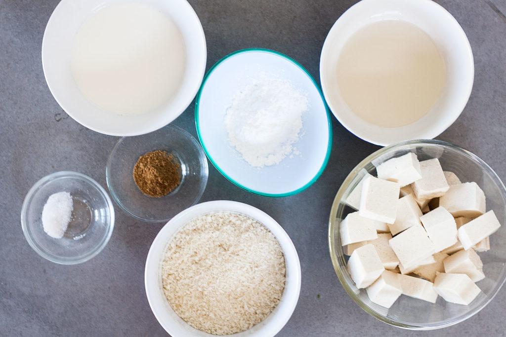 ingredients for crispy panko fried tofu