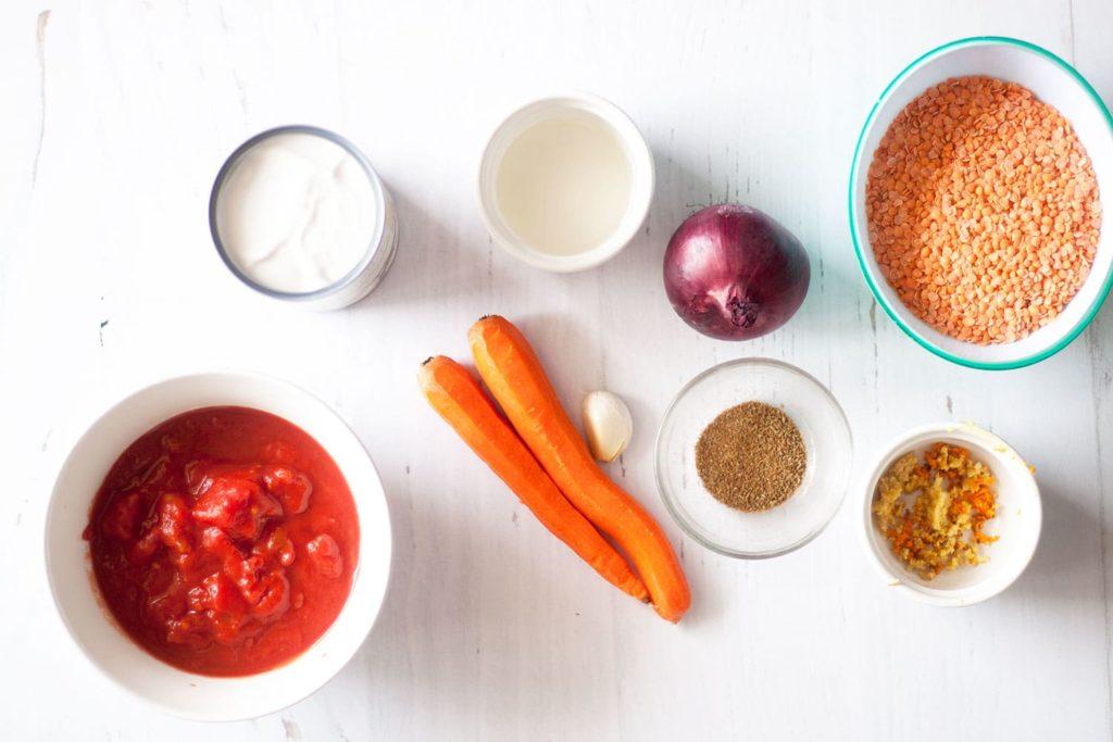 ingredients for Red Lentil Coconut Soup [vegan]