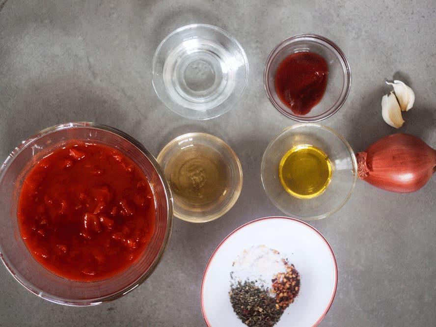 ingredients for homemade marinara sauce