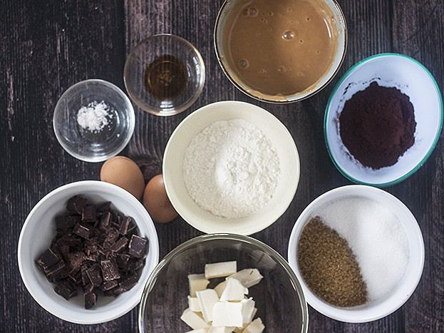 ingredients for Dulce de Leche Chocolate Brownies