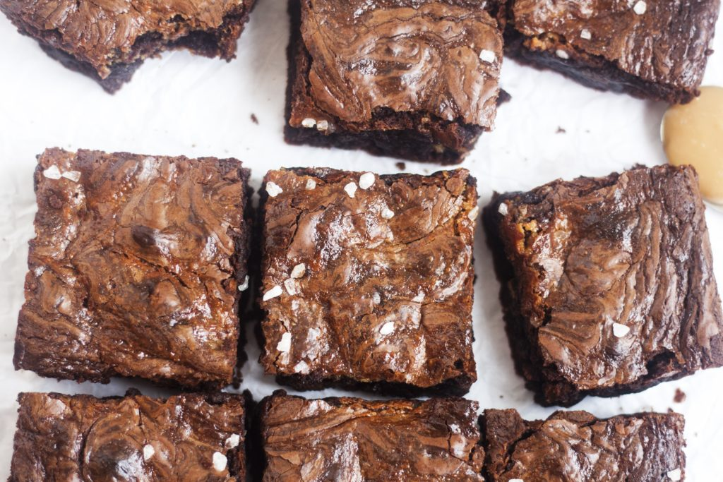 Dulce de Leche Chocolate Brownies on a white background