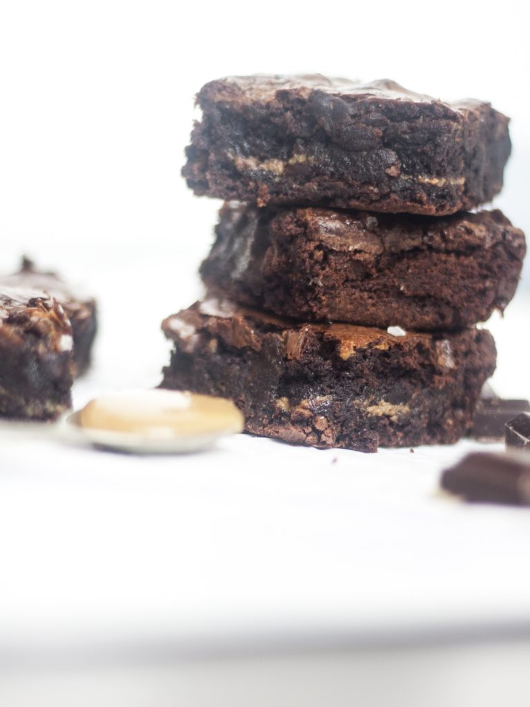 stacked Dulce de Leche Chocolate Brownies