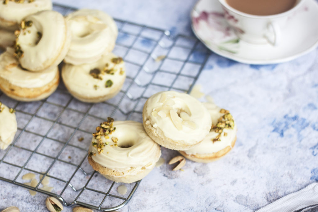 White Chocolate Ricotta Donuts on wire rack
