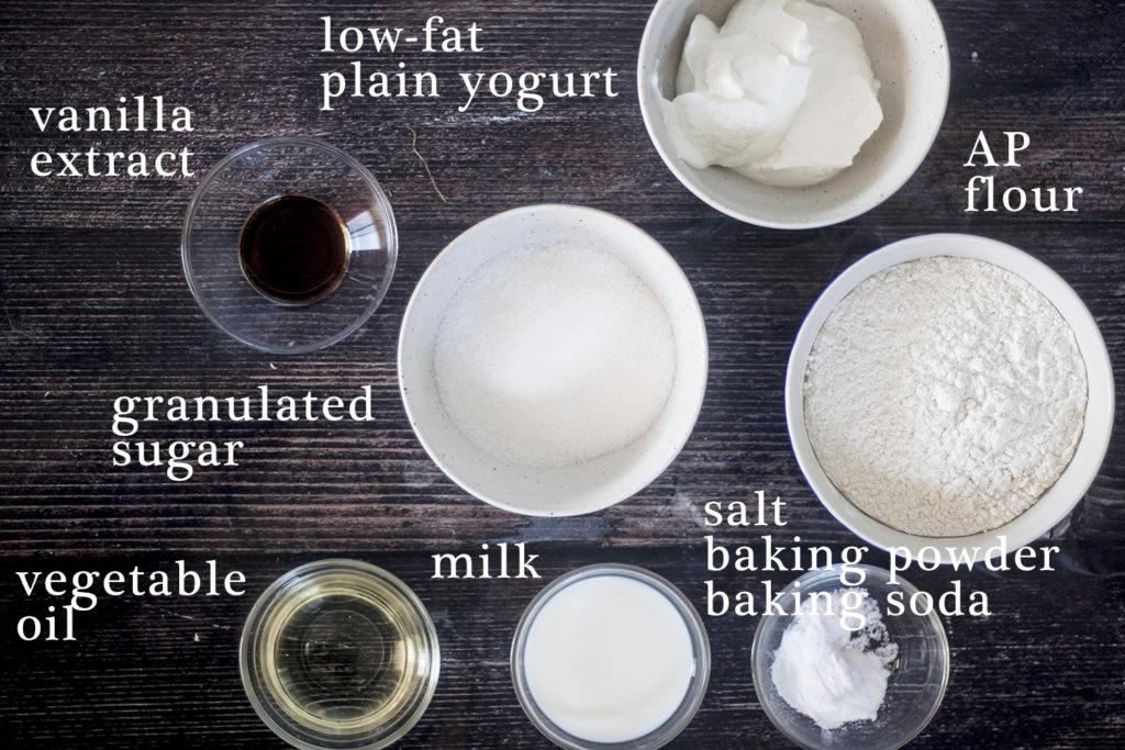 ingredients for Eggless Blueberry Swirl Yogurt Muffins