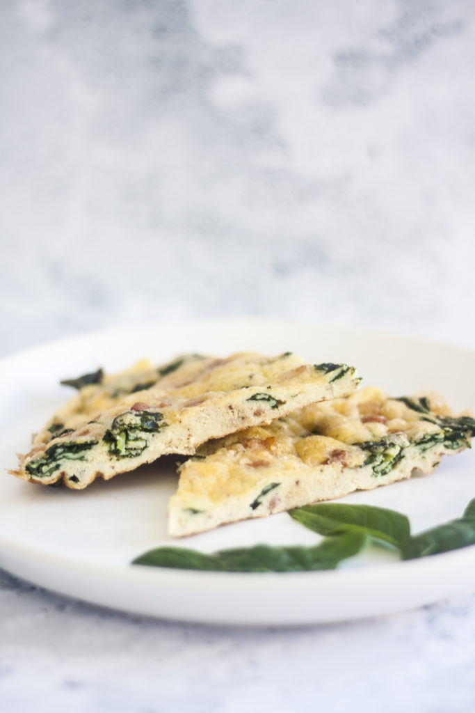 two slices of Pancetta Spinach and Cheese Frittata on plate