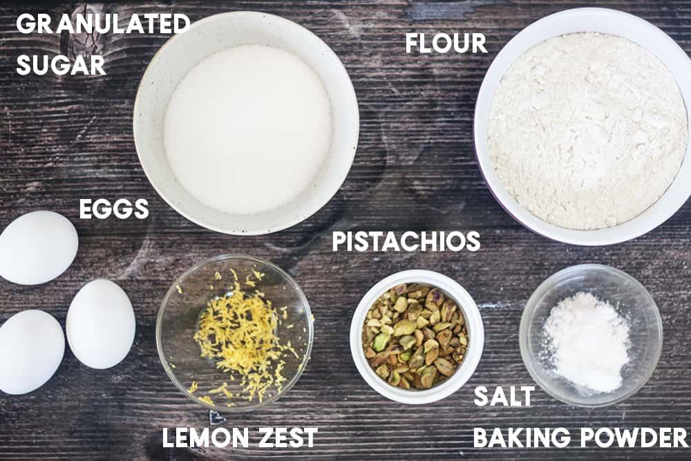 Ingredients for Pistachio Lemon Biscotti