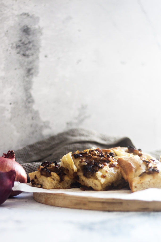 sliced Brie and Caramelized Onion Focaccia
