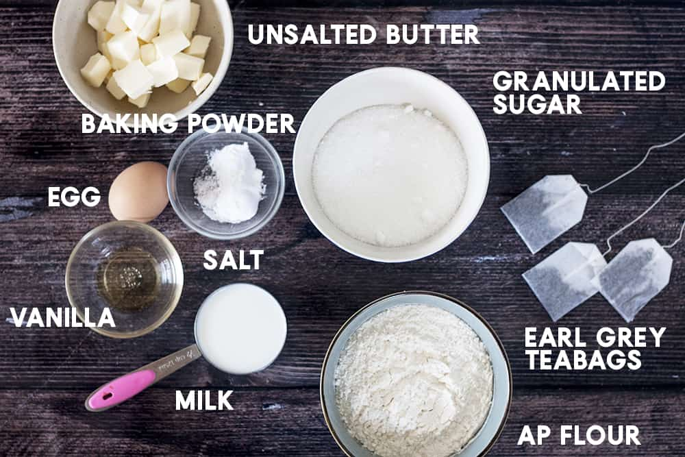 ingredients for Earl Grey Cupcakes