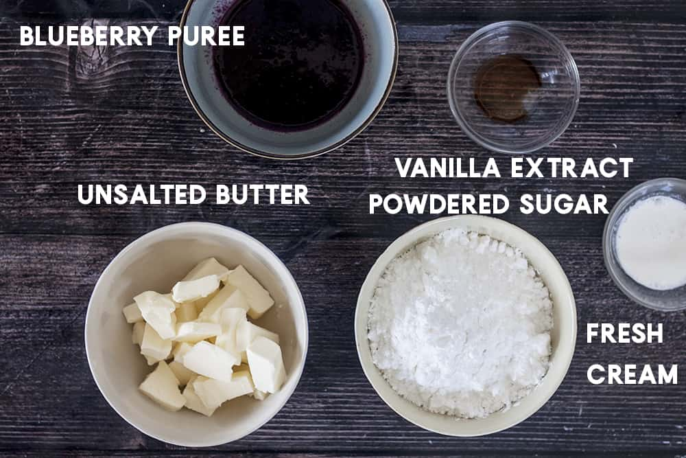 ingredients for blueberry frosting
