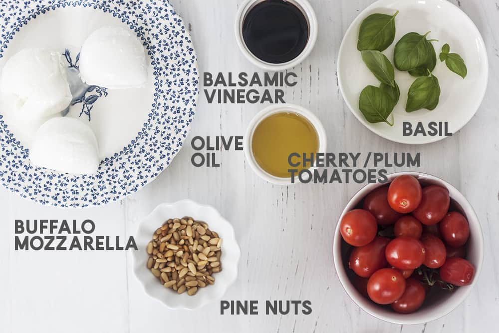 ingredients for Roasted Tomatoes Buffalo Mozzarella and Pine Nut Appetizer