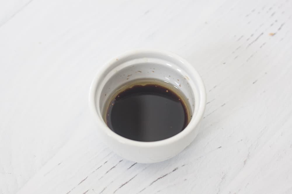 Balsamic vinaigrette in a white bowl