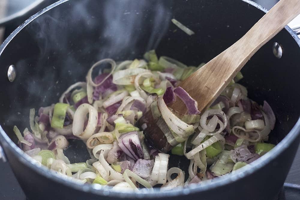 making Shallot and Leek Soup