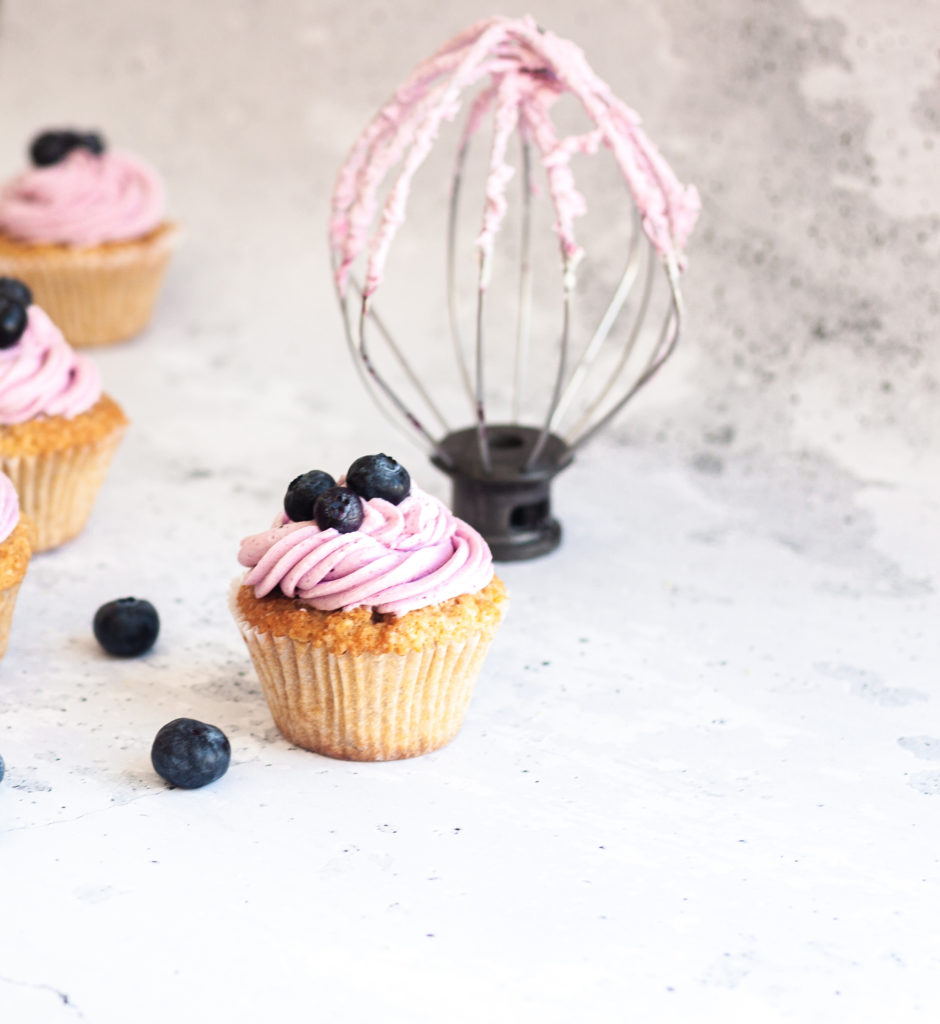 Earl Grey Cupcakes with Blueberry Frosting