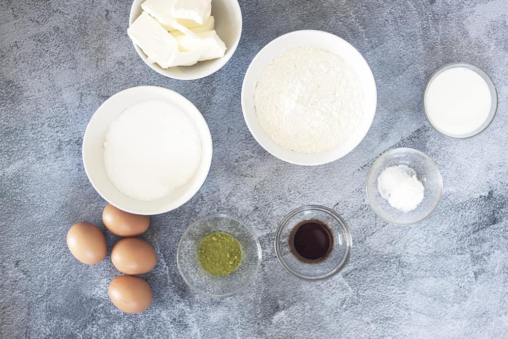 ingredients for Vanilla Matcha Marble Pound Cake