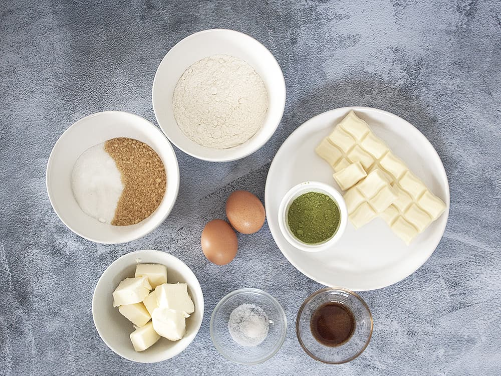 ingredients for Fudgy Matcha White Chocolate Brownies