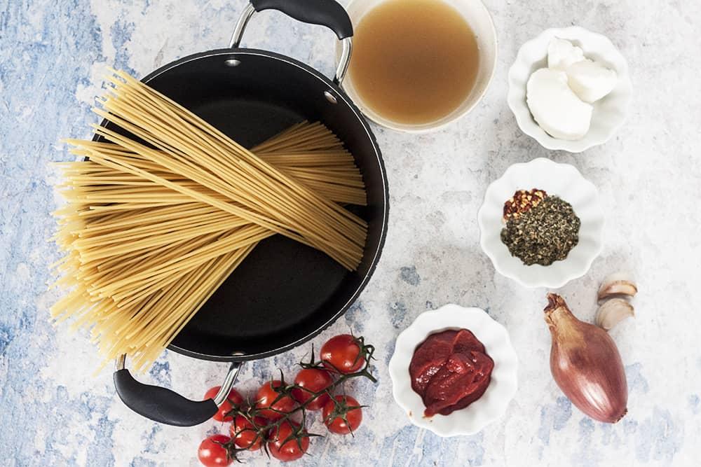 ingredients for Creamy Tomato and Mascarpone Pasta