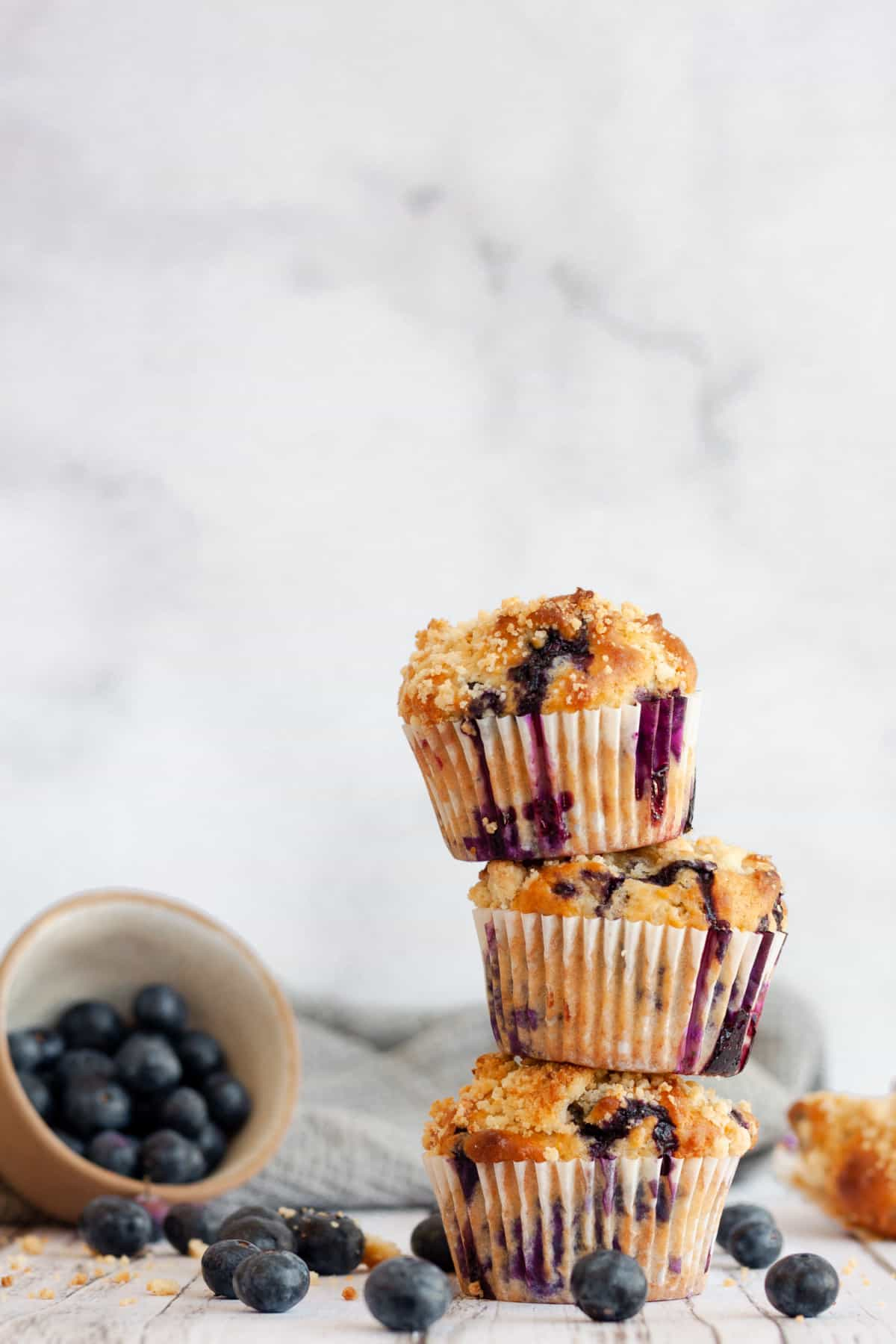 Three Blueberry Earl Grey Muffins stacked