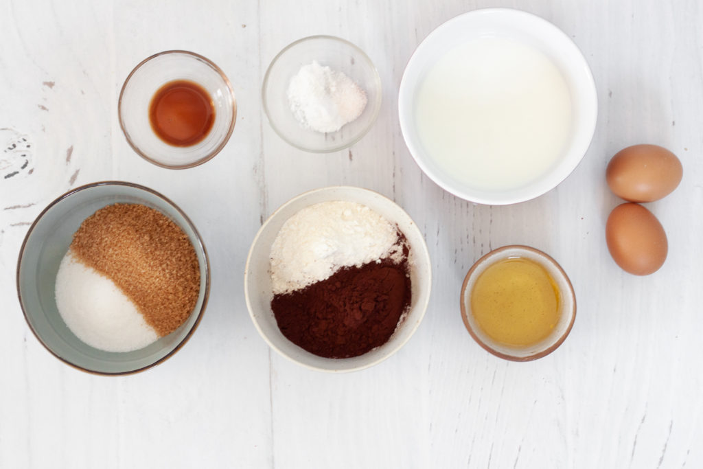 ingredients for chocolate cupcake with a matcha cream cheese frosting