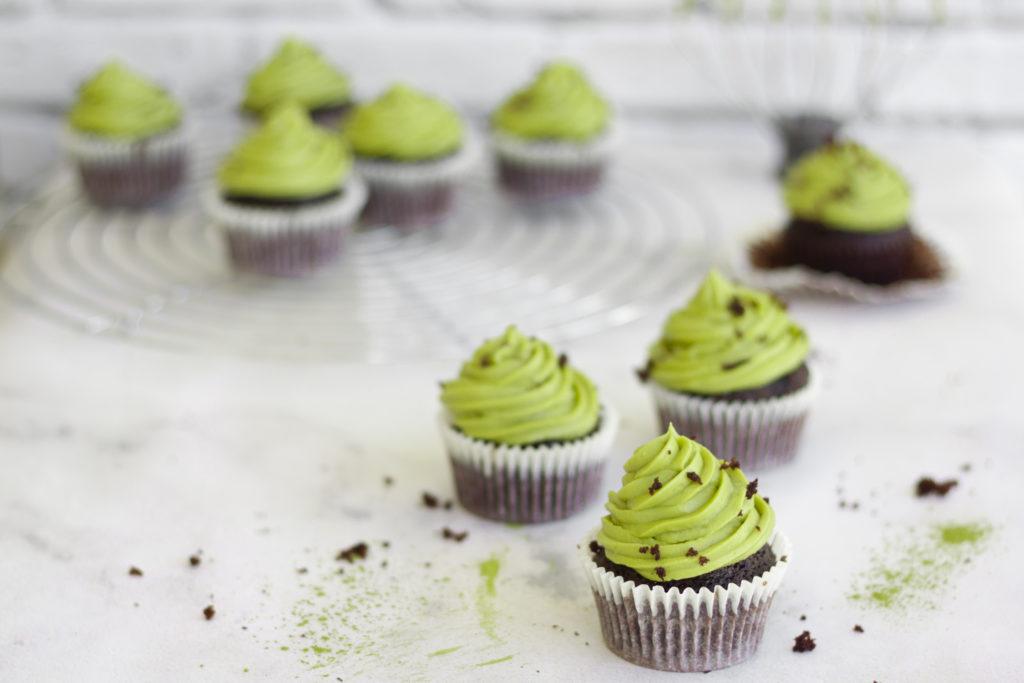 Chocolate Matcha Green Tea Cupcakes