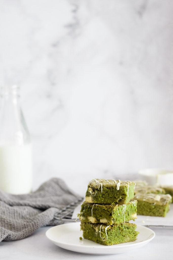 vertical image of Fudgy Matcha White Chocolate Brownies