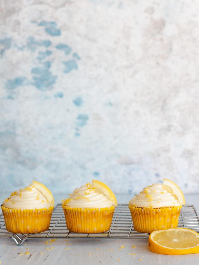 three Limoncello Cupcakes with Mascarpone Lemon Frosting