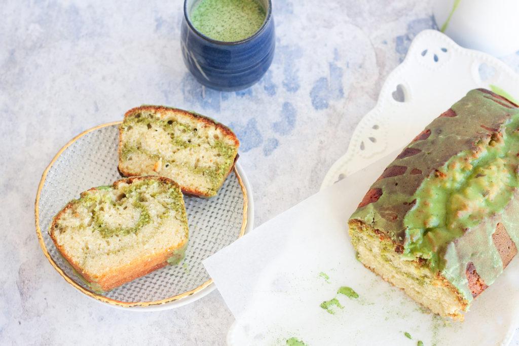 sliced green tea swirled matcha cake