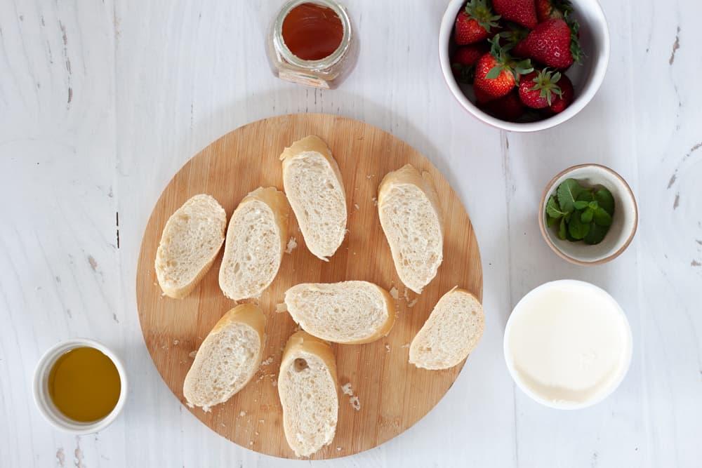 ingredients for strawberry mascarpone bruschetta