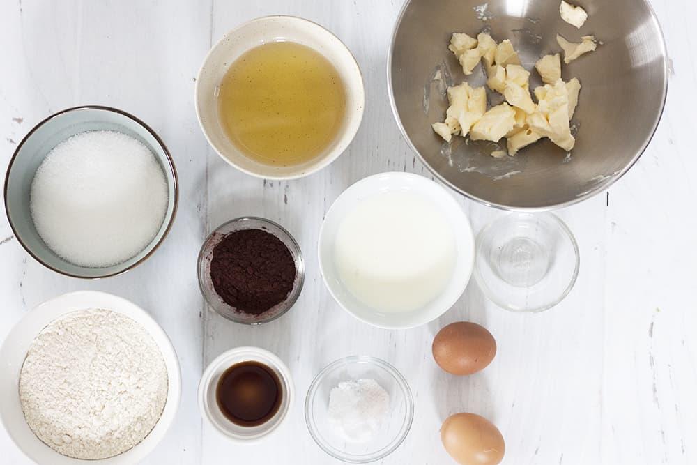 ingredients for red velvet sheet cake