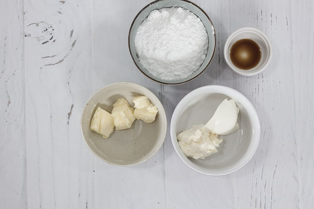 ingredients for mascarpone cream cheese frosting