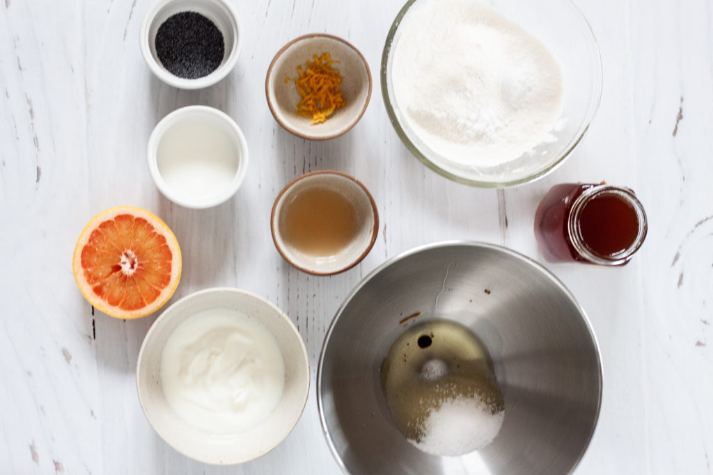 ingredients for grapefruit muffins