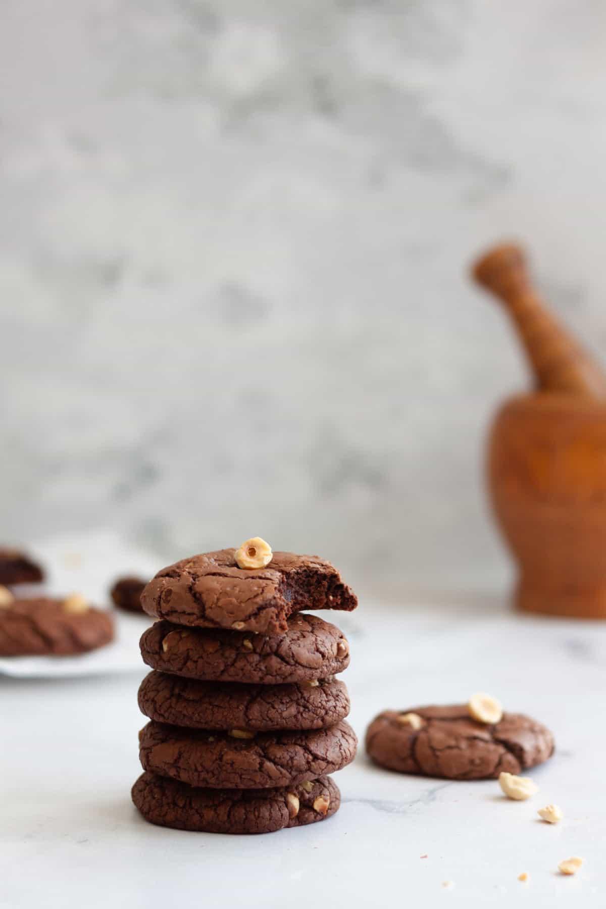 stacked hazelnut brownie cookies
