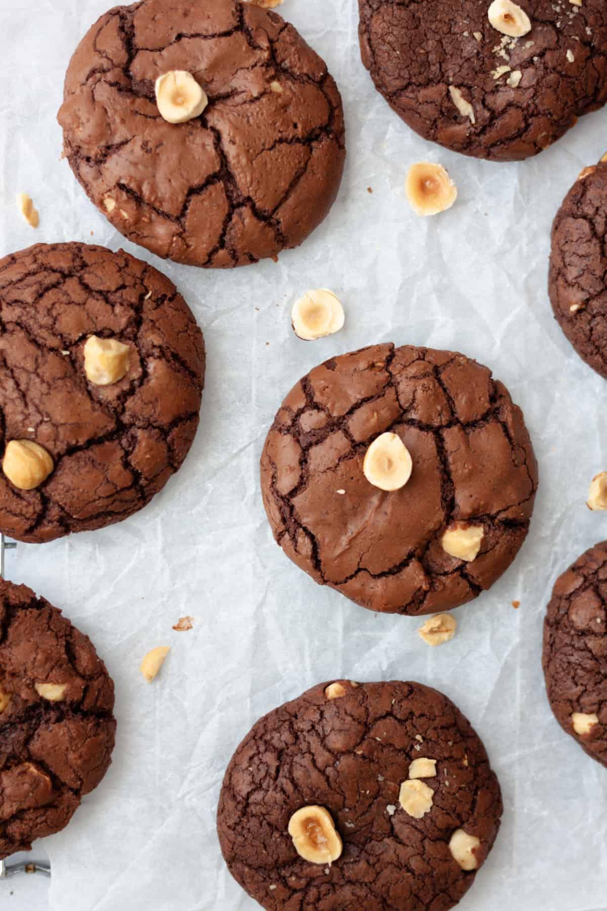 fugdy hazelnut brownie cookies on white background