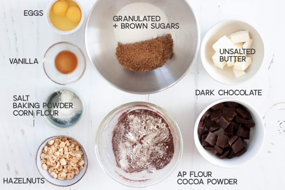 ingredients for hazelnut brownie cookies