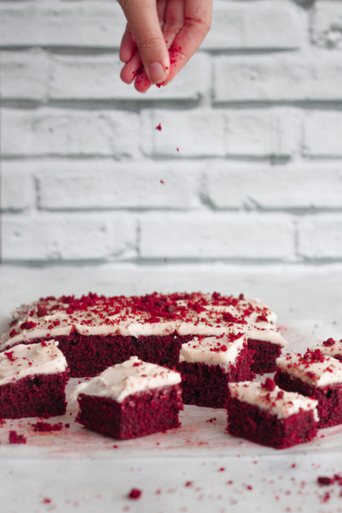 Red Velvet Sheet Cake with Mascarpone Cream Cheese Frosting