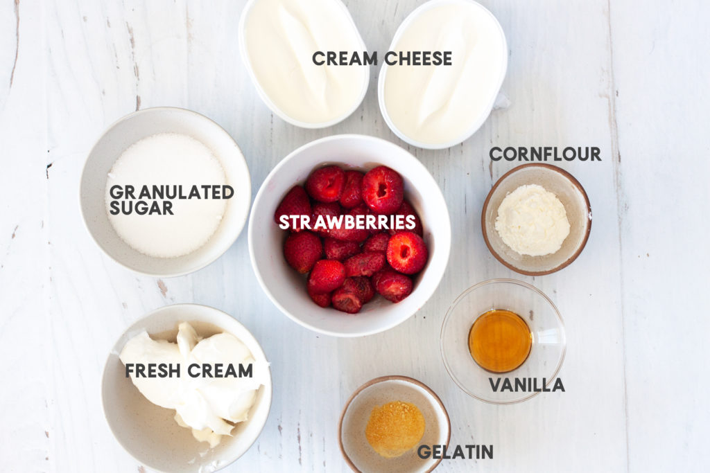 ingredients for No-Bake Strawberry Matcha Cheesecake filling
