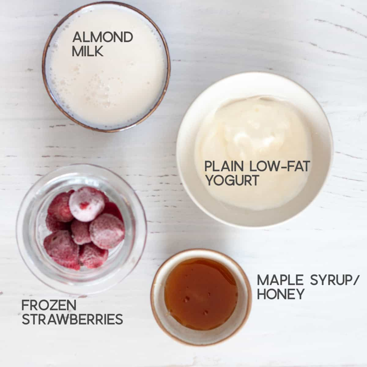 ingredients for Strawberry Matcha Smoothie bottom layer