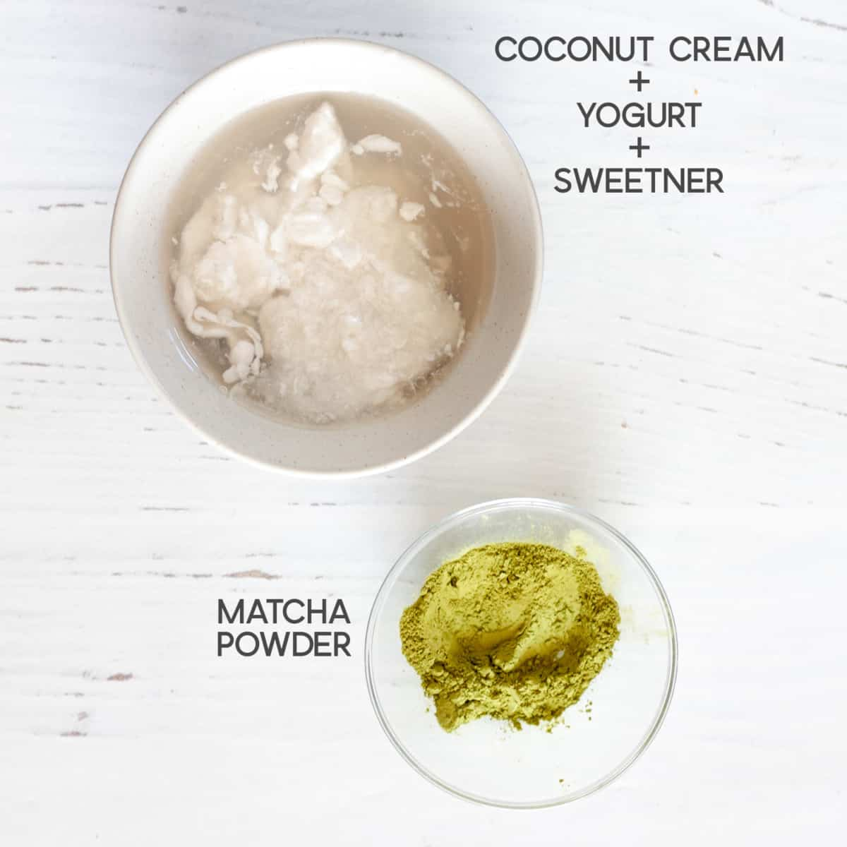 ingredients for Strawberry Matcha Smoothie top layer.