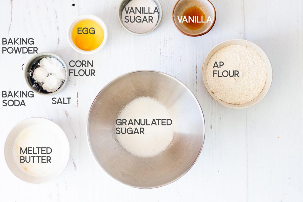 ingredients for vanilla sandwich cookie base