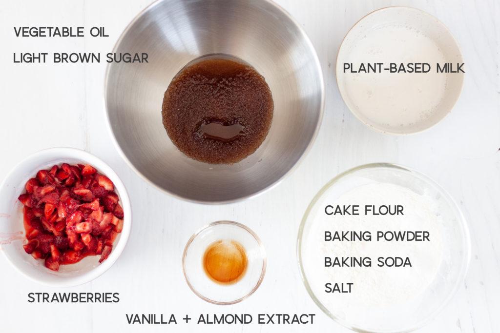 ingredients for vegan strawberry muffins