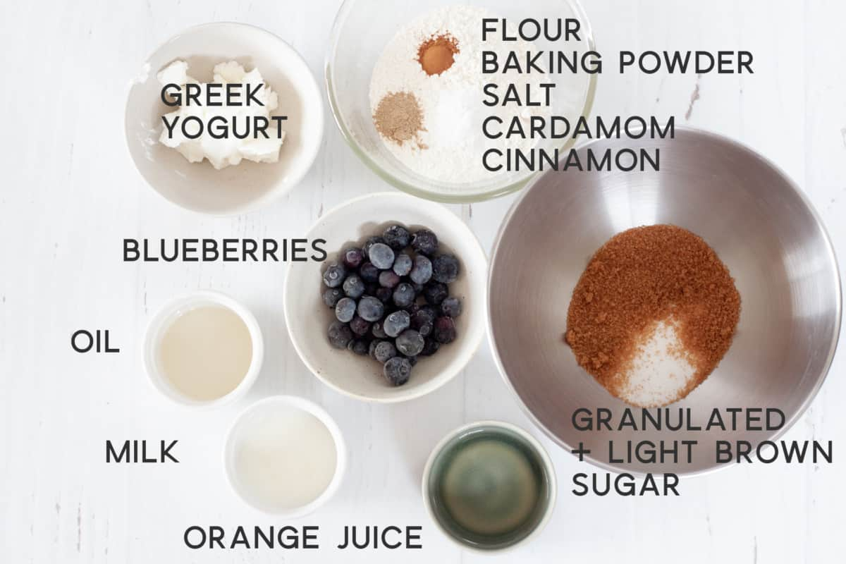 ingredients for blueberry cardamom muffins
