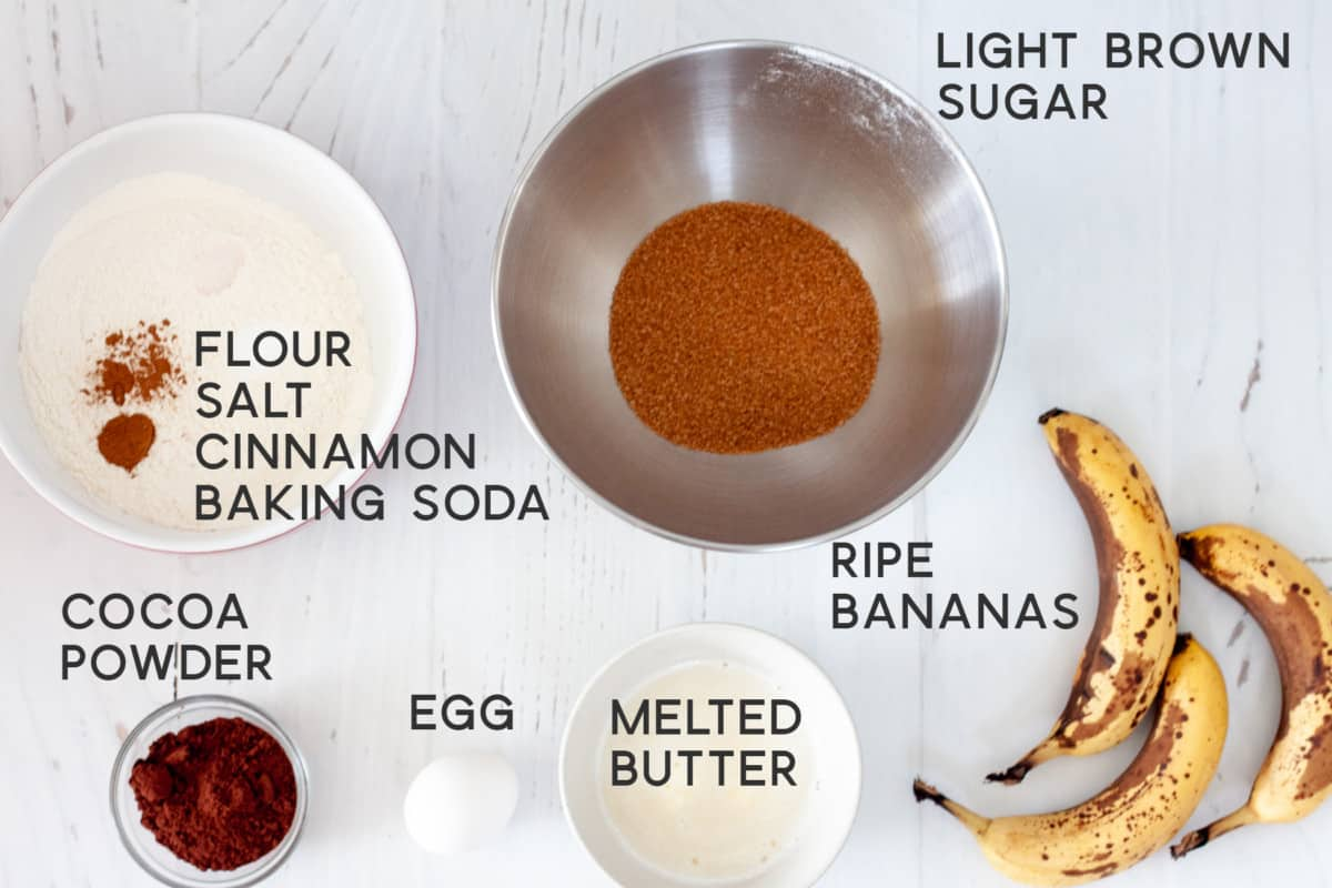 ingredients for making Chocolate Banana Marble Loaf Cake