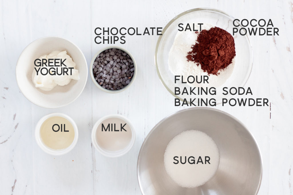 ingredients for Eggless Double Chocolate Greek Yogurt Muffins