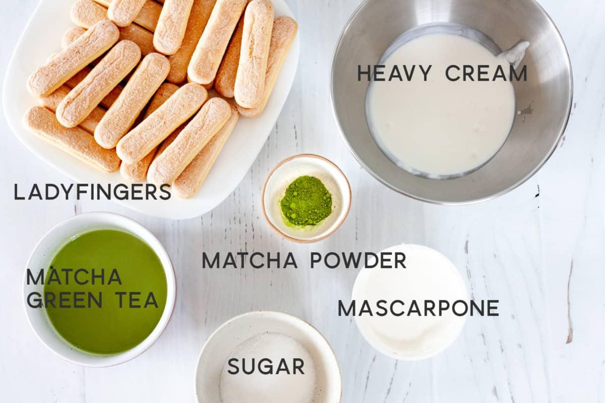 ingredients for eggless matcha tiramisu