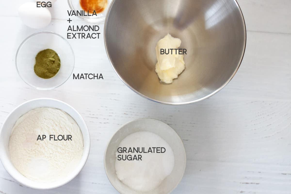 ingredients for Matcha Crinkle Cookies