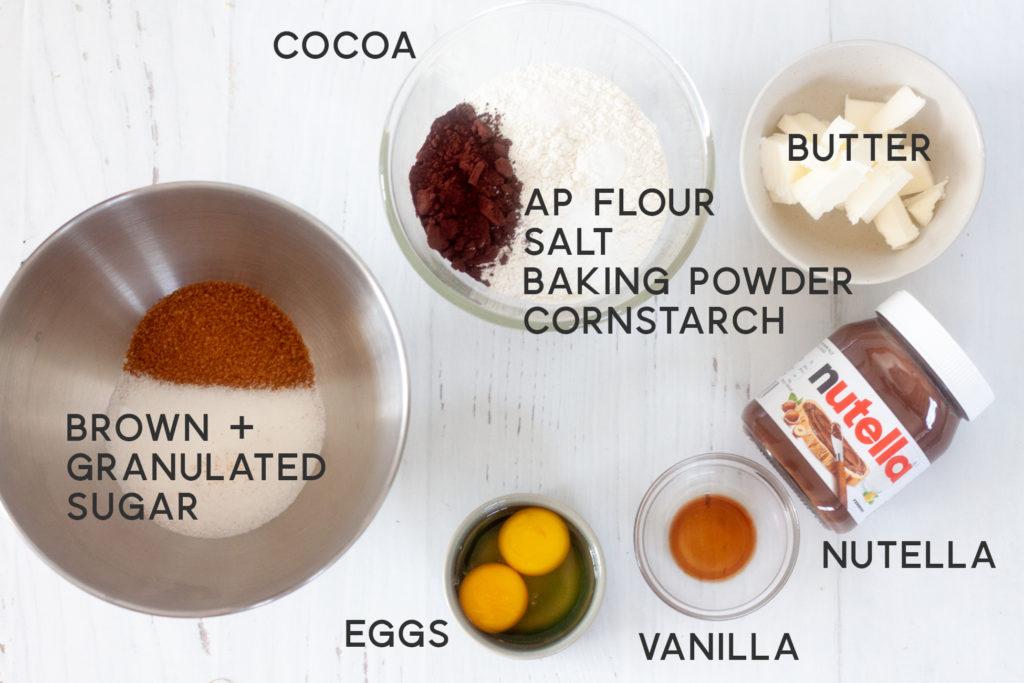 ingredients for Nutella Brownie Cookies
