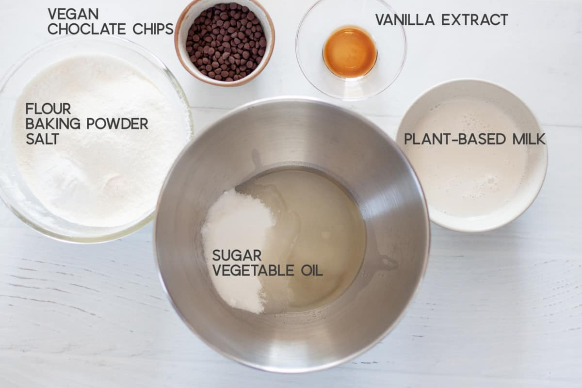 ingredients for Vegan Chocolate Chip Muffins