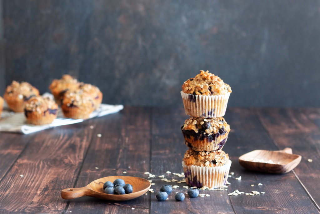 a stack of three Blueberry Banana Oatmeal Muffins