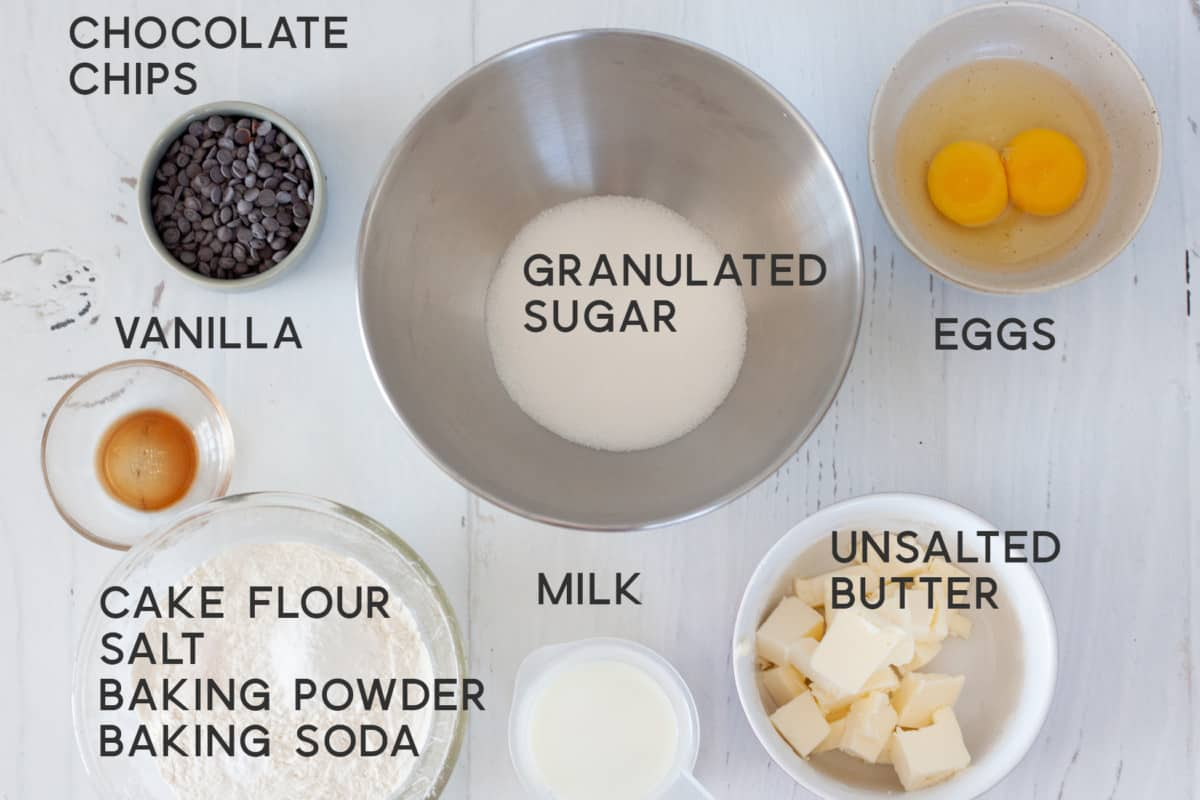 ingredients for Chocolate Chip Loaf Cake