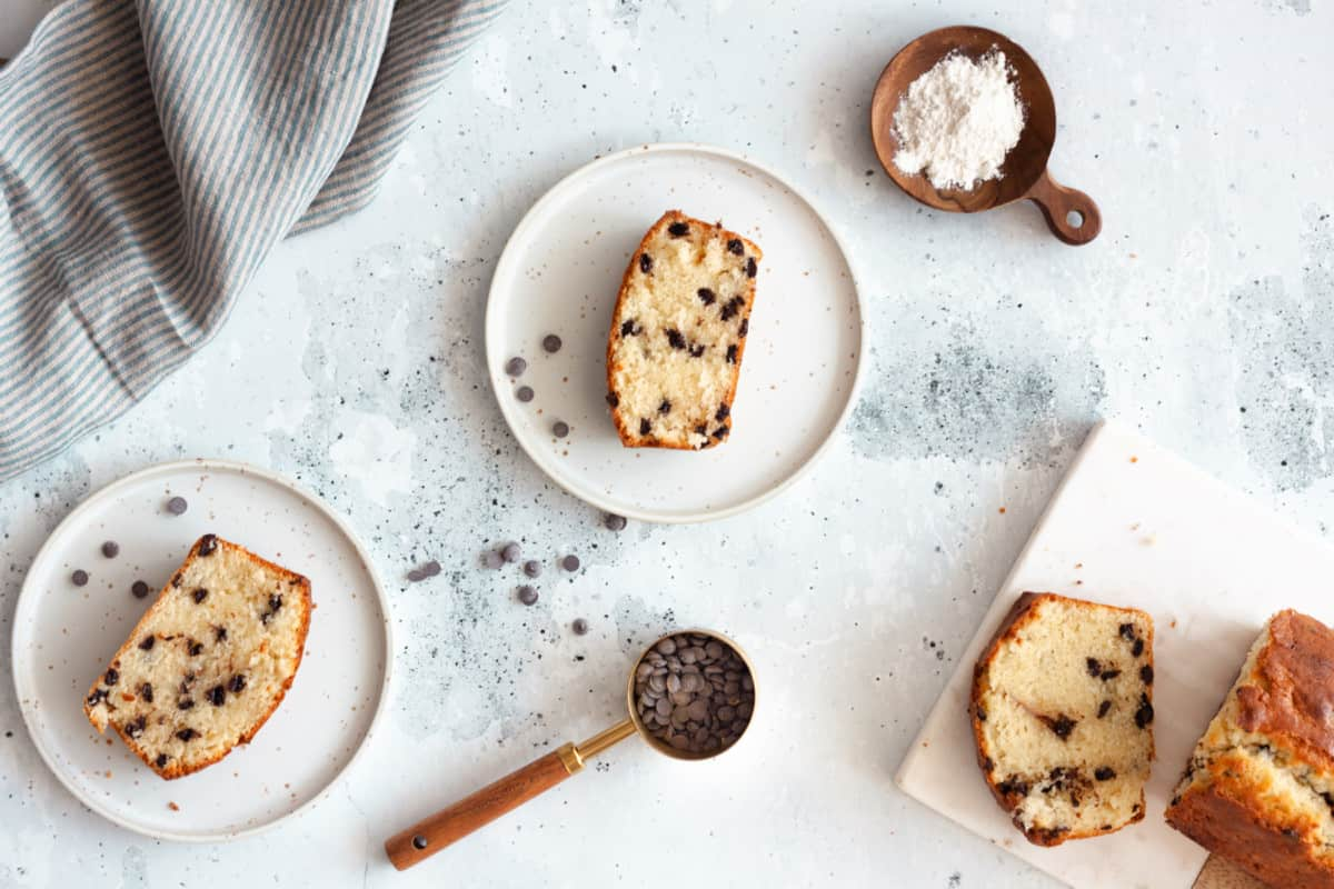 three servings of Chocolate Chip Loaf Cake