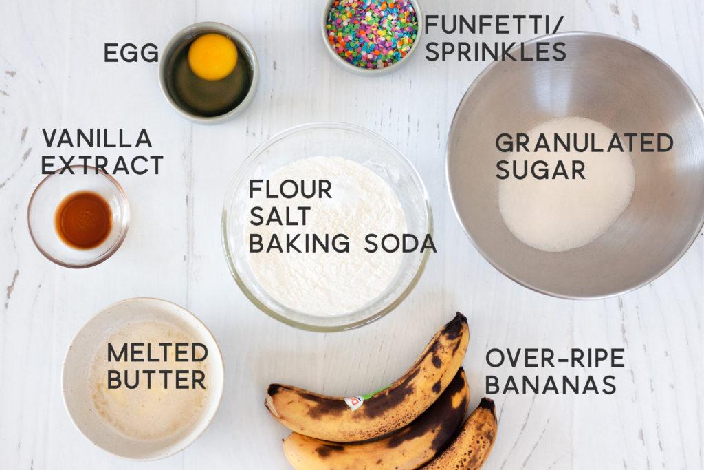 ingredients for funfetti banana bread